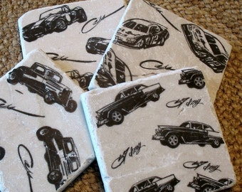 Car Lover Coasters - Absorbent Tile Drink Holders - Black and White Vintage Car design - Man Cave Decor - Father's Day Gift - Set of 4 Tiles