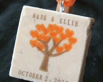 Personalized Christmas Ornament - Christmas Gift for the Couple - Autumn Heart Tree Design
