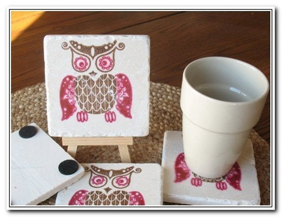 Bold Woodland Owl Coasters, Magenta and Cocoa Brown, Set of 2