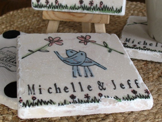 Personalized Wedding Tile Coasters, Romantic Love Birds Embracing Set of 4