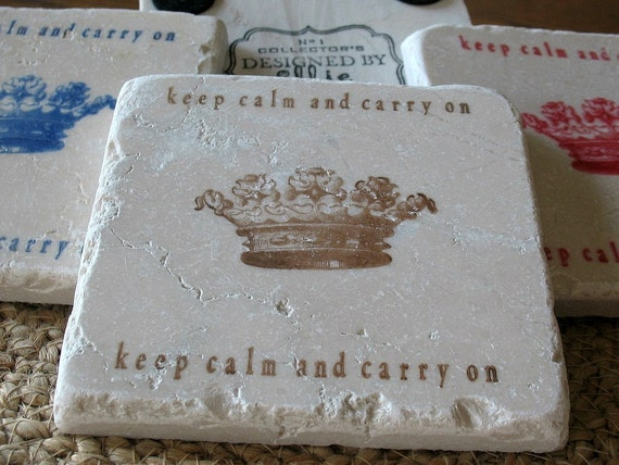Keep Calm and Carry On Tile Coasters, Brown, Set of 4