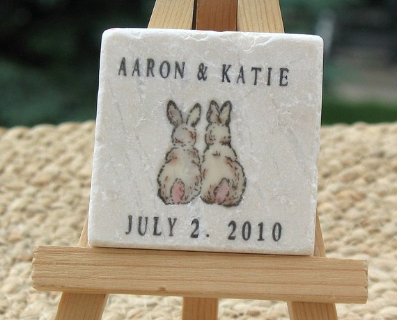 Love Bunny Personalized Wedding Favor Magnets - Save the Date Magnets - Set of 25