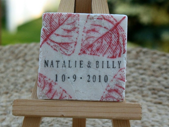 Red Autumn Leaves Save the Date Magnets or Wedding Favors, Set of 25