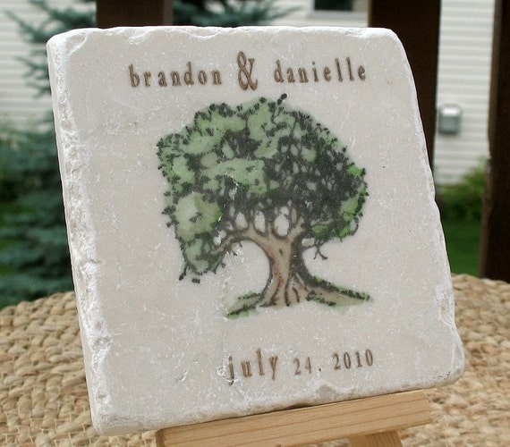 Personalized Oak Tree Favor Coasters - Outdoor Wedding - Set of 25