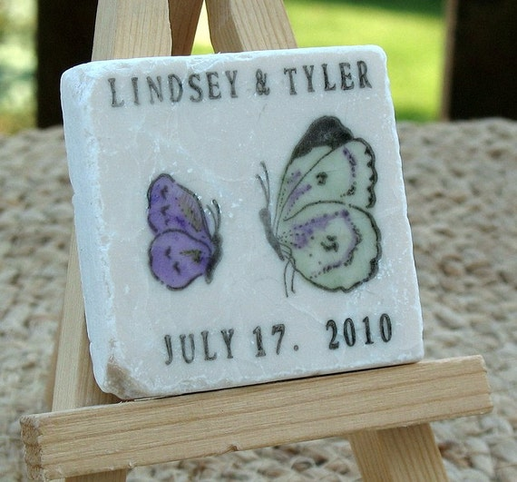 Butterfly Wedding Favor Magnets, Save the Date Magnets, Green and Purple, Set of 25