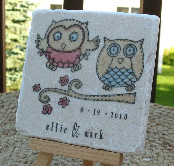 Personalized Owl Wedding Favor Coasters Woodland By MyLittleChick