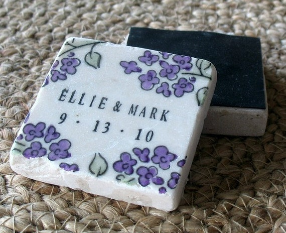 Personalized Floral Wedding Favor Magnets - Save the Date Tiles - Purple and Sage Green - Set of 25