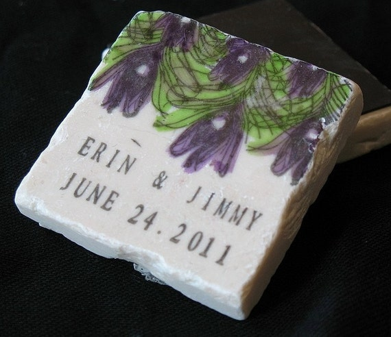 Purple and Green Peacock Feather Wedding Favors, Save the Date Magnets Set of 25