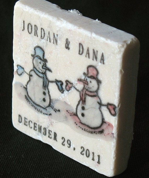 Mr and Mrs Snowman Wedding Favors, Save the Date Magnets, Set of 25