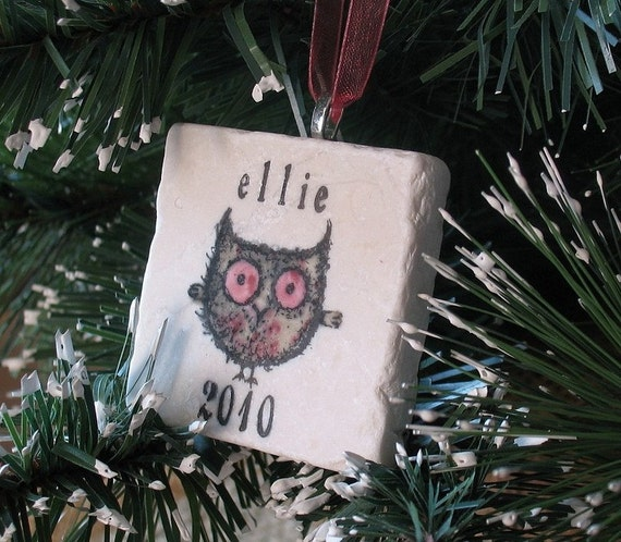 Personalized Baby Girl Owl Ornament  including Gift Box