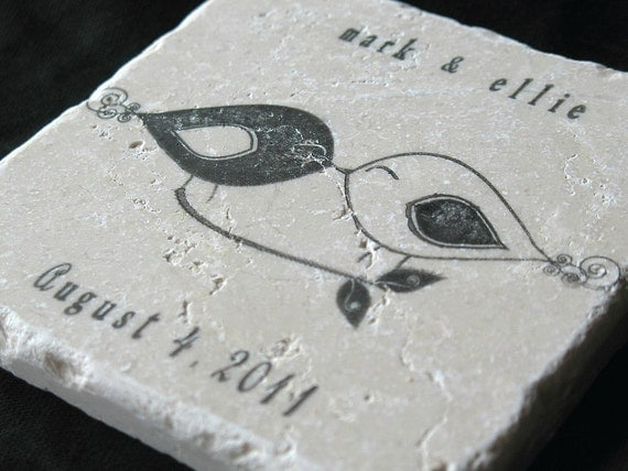 Black and White Love Bird Wedding Favor Coasters, Set of 25