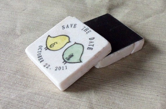 Personalized Save the Date Magnets, Wedding Favors, Pudgy Love Birds, Set of 10