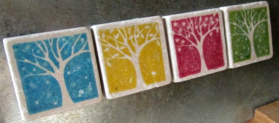 Four Seasons Tile Magnets, Set of 4, Ready to Ship