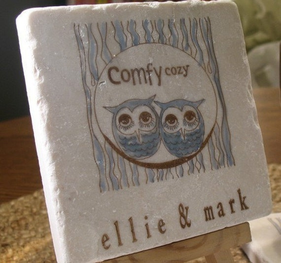 Comfy Cozy Owl Absorbent Tile Coasters, Set of 4, Personalization Available