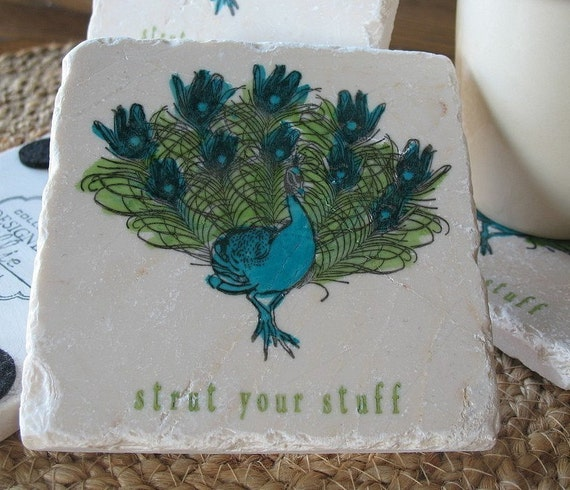 Strut Your Stuff Peacock  Coasters, Set of 4, Personalization Available