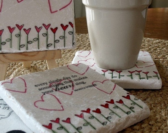 Make Your Heart Sing Absorbent Tile Coasters, Set of 4