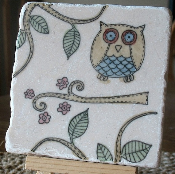 Painted Woodland Whimsical Oliver the Owl Absorbent Tile Coasters, Set of 4