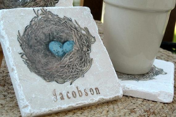 Bird Nest Tile Coasters - Robin's Egg - Personalized Housewarming Gift - Set of 4 Coasters