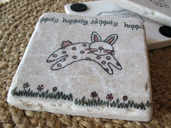 Hoppity Skippity Bunny Coasters - Spring Home Decor - Easter Gift