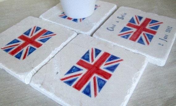 British Flag Wedding Favor Coasters, Set of 25