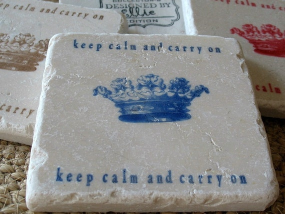 Keep Calm and Carry On Tile Coasters, Royal Blue, Set of 4, Ready to Ship