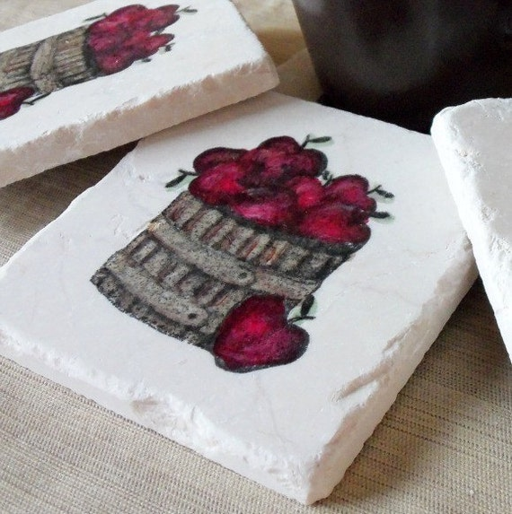 A Basket Full of Apples Tile Coasters - Teacher Gift - Apple Home Decor - Set of 4