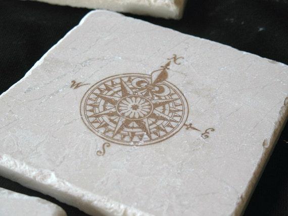 Fleur De Lis Compass Tile Coasters - Masculine Home Decor - Father's Day Gift