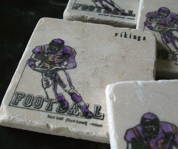 Football Drink Coasters - Sports Home Decor - Set of 4