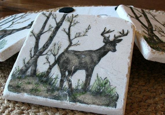 Rustic Decor - Deer Absorbent Tile Coasters - Northwoods Cabin - Hunter Gift