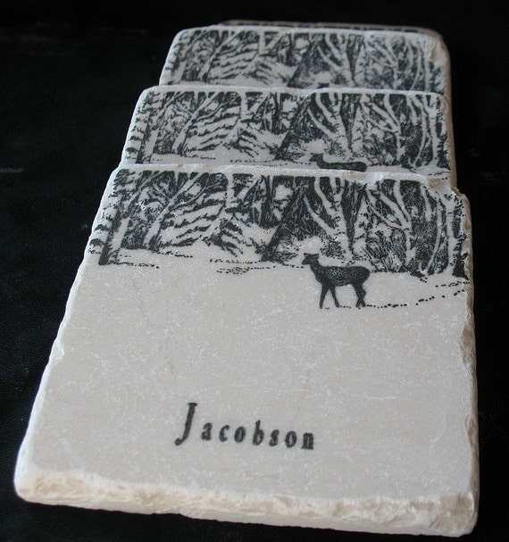Personalized Winter Morning Tile Coasters - Deer Home Decor - For Him - Set of 4