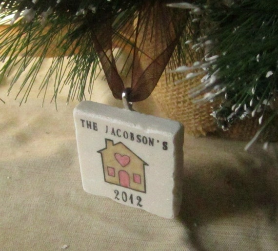 Personalized Home Ornament - Housewarming Christmas Gift - Clear Lid Box