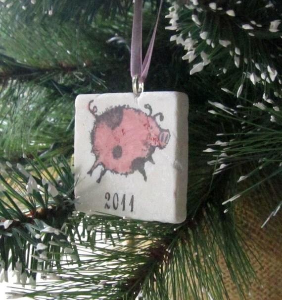 Pig Christmas Ornament - Holiday Tree Decoration - Gift Box
