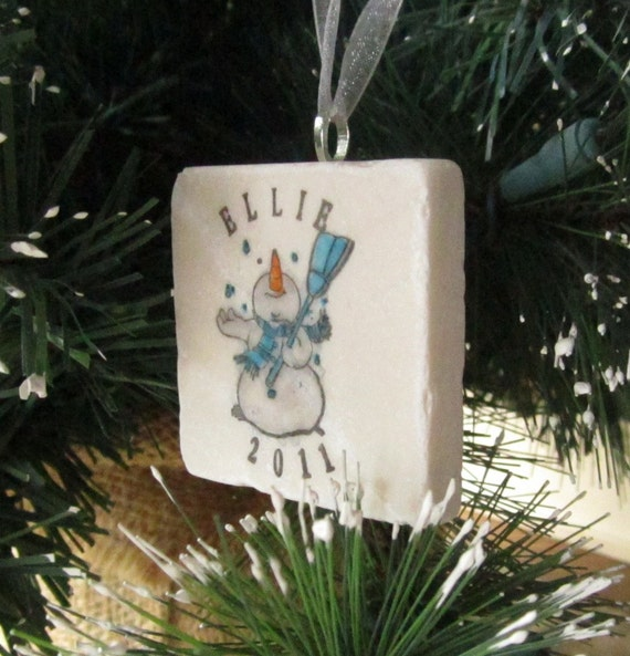 Snowman Ornament - Personalized Christmas Ornament - Holiday Tree Decoration - Christmas Gift