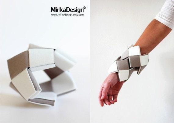 Fabric Origami bracelet ( white and grey)