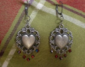 Gothic Filagree Hearts and Red Swarovski Crystals