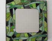 Gorgeous Green Glass Mosaic Mirror