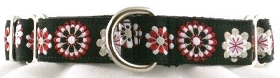 3/4 inch Martingale dog collar--Aster-Black and Red
