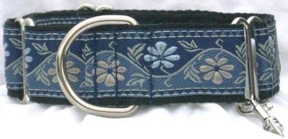 1.5 inch Greyhound Martingale dog collar w/TAG--Medieval Flowers