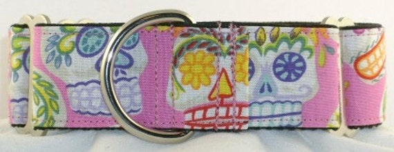 1.5 inch Greyhound Martingale dog collar--Calaveras Day of the Dead-Pink