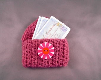 Business Card/Gift Card Key Chain Pouch - Rose Pink with White, Pink, and Orange Button