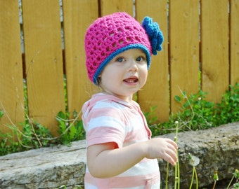 Summer Rose Beanie- Any Colors - Newborn to Child Sizes