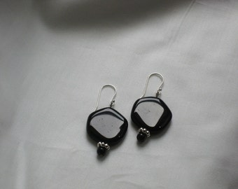 CLEARANCE: Black Glass and Blackstone Earrings on Sterling Silver