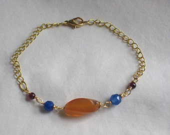 CLEARANCE: Agate, Faceted Blue Glass, and Garnet Bracelet on Gold Metal Chain