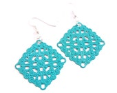 Blue Filigree Earrings, Square aqua lacy earrings