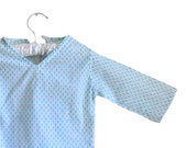 Baby dress  Top  in white  with baby blue buti  print - Girl -  Boy - Baby - Size - 12 - 24 months