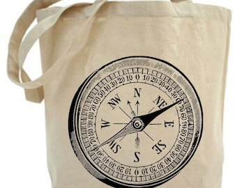 Nautical Vintage Mariner's Ship Compass...Recycled Tote