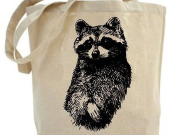 Canvas tote bag - Raccoon tote bag- recycled