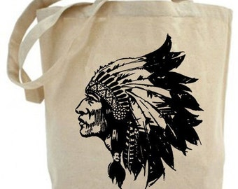 Canvas tote bag  - Eco friendly ... Native American Face -  Recycled Tote...