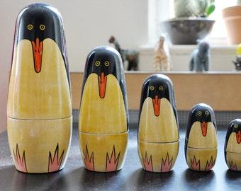 Penguins - Nesting eco friendly Doll - Russian Dolls-Matryoshka