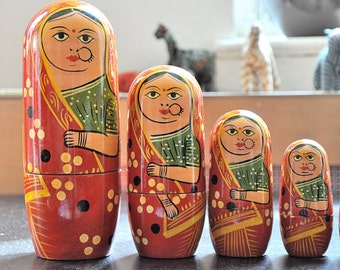 Wooden eco friendly Russian Doll in Sari